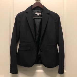 New York Co Black Gray Pinstripe Stretch Blazer 0